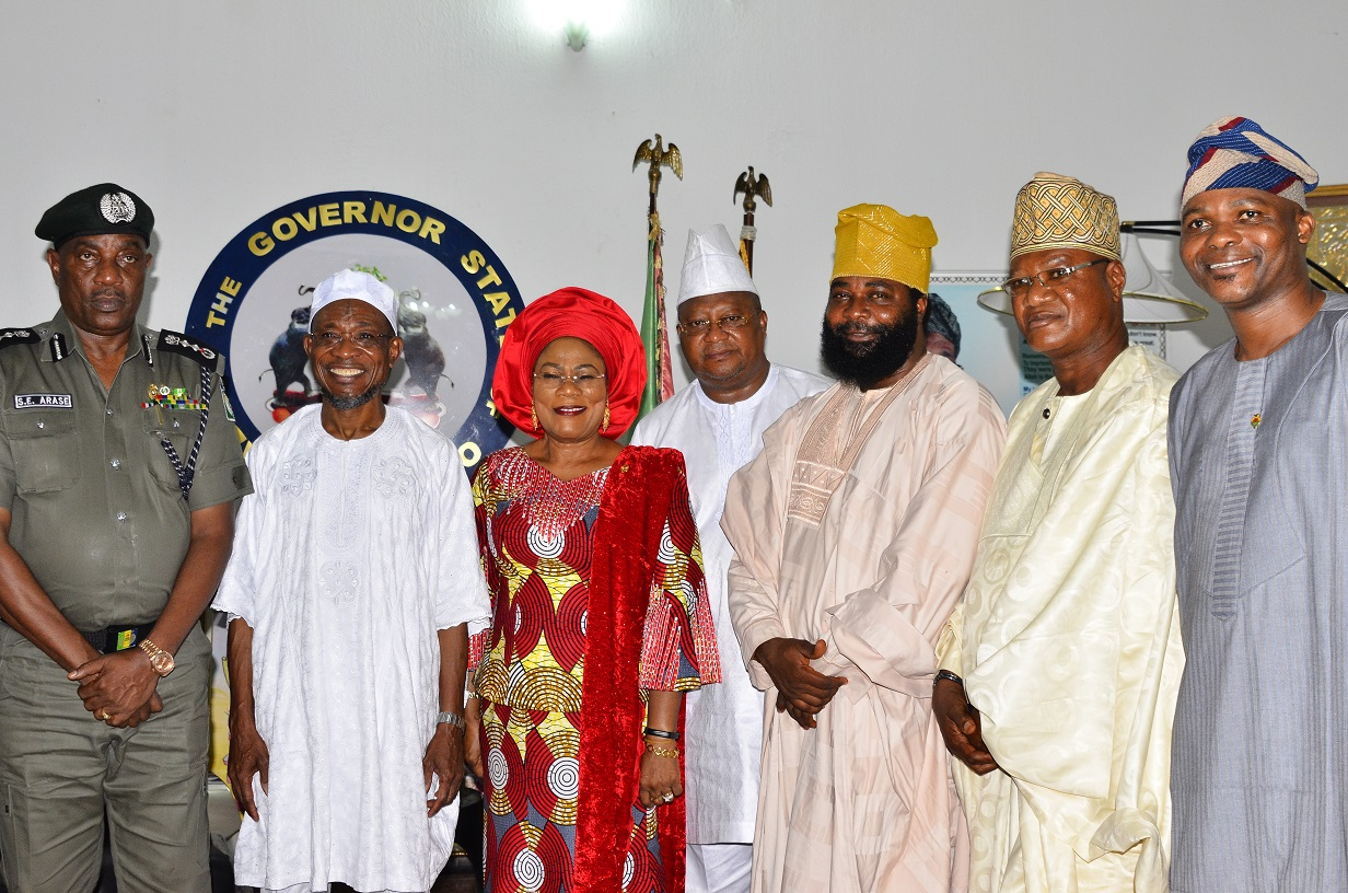 Governor State of Osun, Ogbeni Rauf Araegbesola (2nd left); his deputy, Mrs Titi Laoye-Tomori; Inspector General of Police (IGP), Solomon Arase (left), Former Osun Governor, Senator Isiaka Adeleke (4th left),State Chairman Police Community Relations Committee (CPRC), Comrade Amitolu Shittu (3rd right), Zonal Chairman Police Community Relations Committee (PCRC), Otunba Femi Arowosola (2nd right) and the State Public Relation Officer of the CPRC, Engr. Adeniran Ibitoye, during a courtesy visit to the Governor, at the Government House, Osogbo State of Osun, on Monday 28/092015.