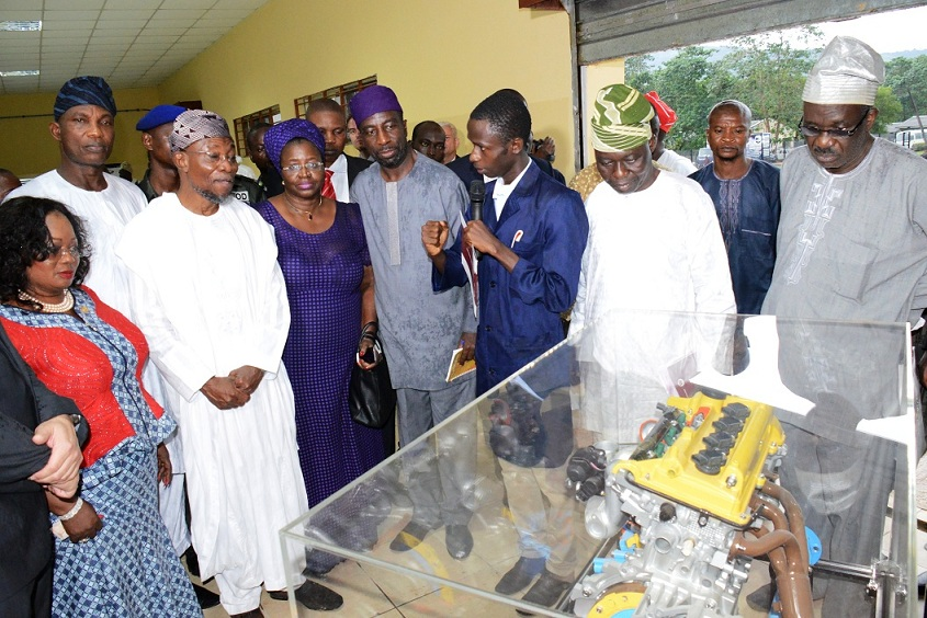 Governor State of Osun, Ogbeni Rauf Aregbesola (2nd left); Son of late Bola Ige and former Commissioner for Lands and Psychical Planning in Osun, Arch. Muyiwa Ige (middle); his sisiter, Mrs Funsho Adegbola (3rd left); Auto Metrics Instructor, Mr Olayinka oladigbo (4th right), during the official commissioning of Bola Ige Mechatronics Institute in Esa-Oke, State of Osun on Thursday 10-09-2015