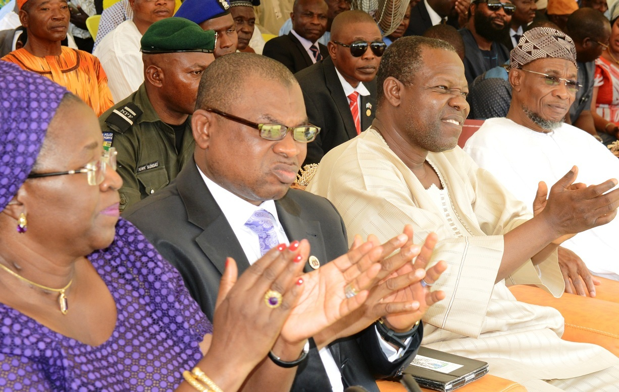 From right, Governor State of Osun, Ogbeni Rauf Aregbesola;  Guest Speaker, Mr. Ola Abraham; Managing Director, Osun State Investment Company Limited,  Mr. Bola Oyebamiji and Late Bola Ige,s Daughter, Mrs Funsho Adegbola, during the official commissioning of Bola Ige Mechatronics Institute in Esa Oke on Thursday 10-09-2015