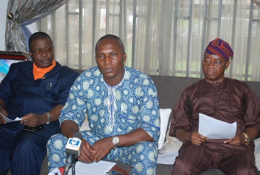 Chief of Staff to the Governor, Alhaji Gboyega Oyetola  addressing journalists after the signing of memorandum of understanding between the labour and Government State of Osun on payment of workers salary at Government House on 16-09-2015.