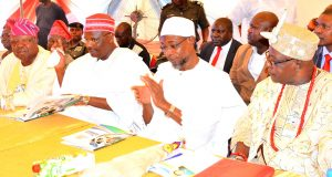 Governor State of Osun, Ogbeni Rauf Aregbesola (2nd right);  Former Governor of Kano State, Senator Rabiu  Musa Kwankwaso (2nd left), Akeran 4, Owa of Igbajoland, Oba Adeniyi Olufemi Fashade (right) and Chairman of Occasion, Chief Tunde Ponnle (left), during the 2nd Education Summit at Igbajo Polytechnic,Igbajo, State of Osun, on Thursday 22/10/2015.
