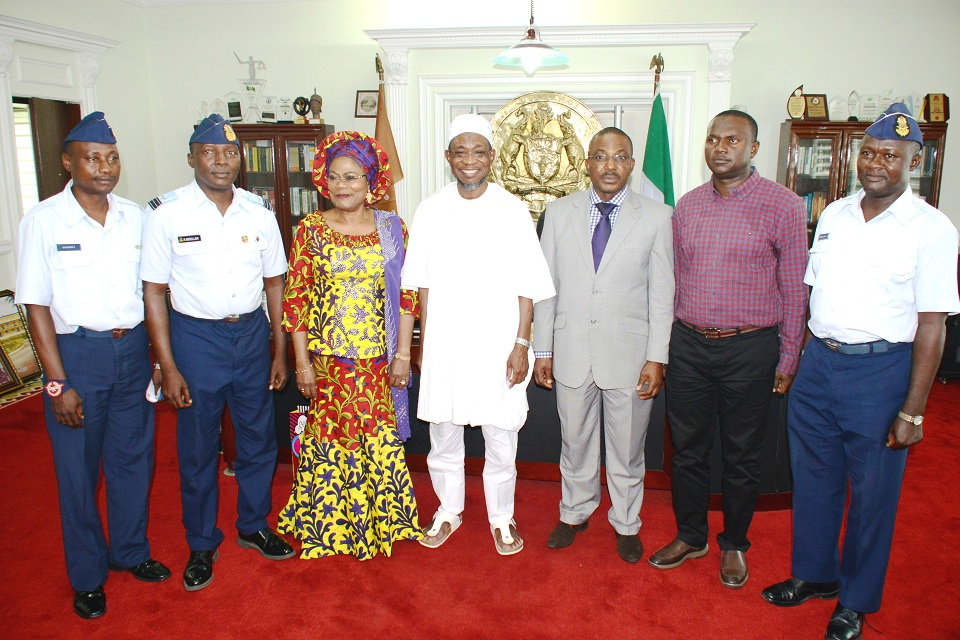 Governor, State of Osun, Ogbeni Rauf Aregbesola; his deputy, Mrs Titi Laoye-Tomori; Managing Director, Aeronautical Engineering and Technical Services Limited, Air Commodor Emmanuel Eze (3rd right); Osun Aiport Project Engineer, Engr. Aminu Suleiman; Wing Commander Ridwan Abdullahi (2nd left); Warrant Officer, Sulman Tosho (right); and Warrant Officer, Abdullahi Tukur, during a courtesy visit to the Governor towards the completion of the MKO International Airport in his office, Abere, Osogbo