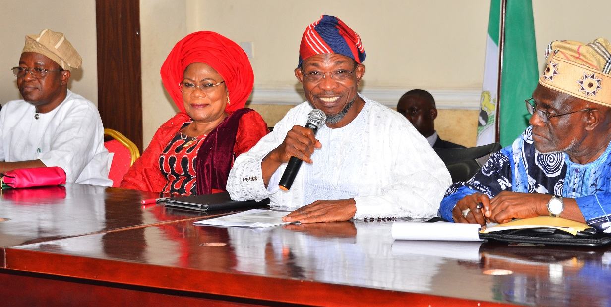 Governor State of Osun, Ogbeni Rauf Aregbesola 2nd right); his deputy, Mrs. Titi Laoye-Tomori (2nd left), Chief of Staff to the Governor, Alhaji Gboyega Oyetola (left) and Chairman, the newly inuagurated Committee on the Apportionment of Net Revenue Accruing from Federation Accounts and Internally Generated Revenue (IGR) to the State Government of Osun to Take Care of Salaries, Pensions and Other Critical Expenditures of Government, Comrade Hassan Sumonu, during the official Inauguration of the Committee by the Governor, at Governor's office, Abere, Osogbo at the weekend