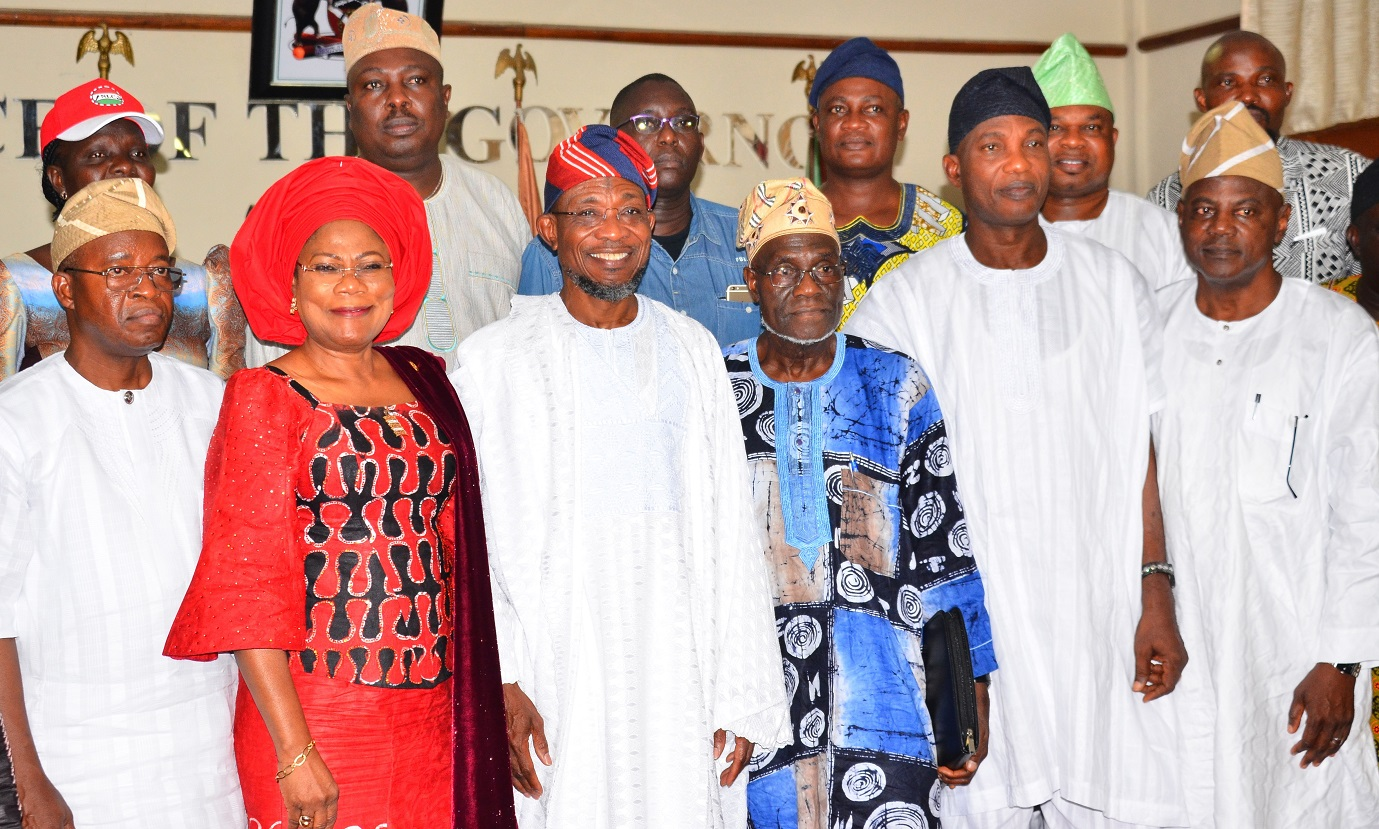 Governor State of Osun, Ogbeni Rauf Aregbesola (3rd left); his deputy, Mrs. Titi Laoye-Tomori (2nd left), Secretary to the State Government, Alhaji Moshood Adeoti (2nd right), Chief of Staff to the Governor, Alhaji Gboyega Oyetola (left),Chairman, Committee on the Apportionment of Net Revenue Accruing from Federation Accounts and Internally Generated Revenue (IGR) to the State Government of Osun to Take Care of Salaries, Pensions and Other Critical Expenditures of Government, Comrade Hassan Sumonu (3rd right) and others, during the official Inauguration of the Committee by the Governor, at Governor's office, Abere, Osogbo, at the weekend