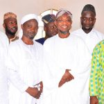 Governor State of Osun, Ogbeni Rauf Aregbesola (2nd right); Speaker, State of Osun House of Assembly, Hon. Najeem Salam (left), his Deputy, Hon. Akintunde Adegboye (right), Chief Imam of Allahu Lateef Central Mosque, Sheik Mahammad Yaya (2nd left), and others, during the Jumat Service, at Allahu Lateef Central Mosque, Onward Area, Osogbo, on Friday 02-10-2015.