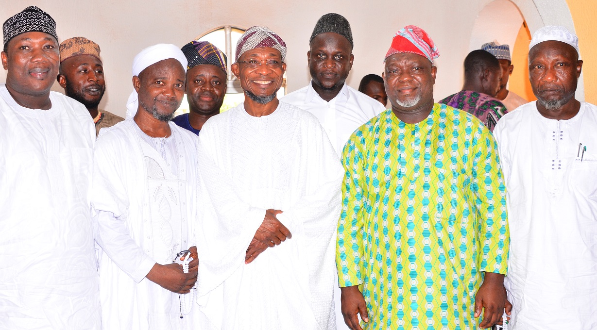 Governor State of Osun, Ogbeni Rauf Aregbesola (middle); Speaker, State of Osun House of Assembly, Hon. Najeem Salam (left), his Deputy, Hon. Akintunde Adegboye (2nd right), Chief Imam of Allahu Lateef Central Mosque, Sheik Mahammad Yaya (2nd left), Executive Secretary, Ilesa-west Local Government, Alhaji Issa Adesiji (right) and others, during the Jumat Service, at Allahu Lateef Central Mosque, Onward Area, Osogbo, on Friday 02-10-2015.