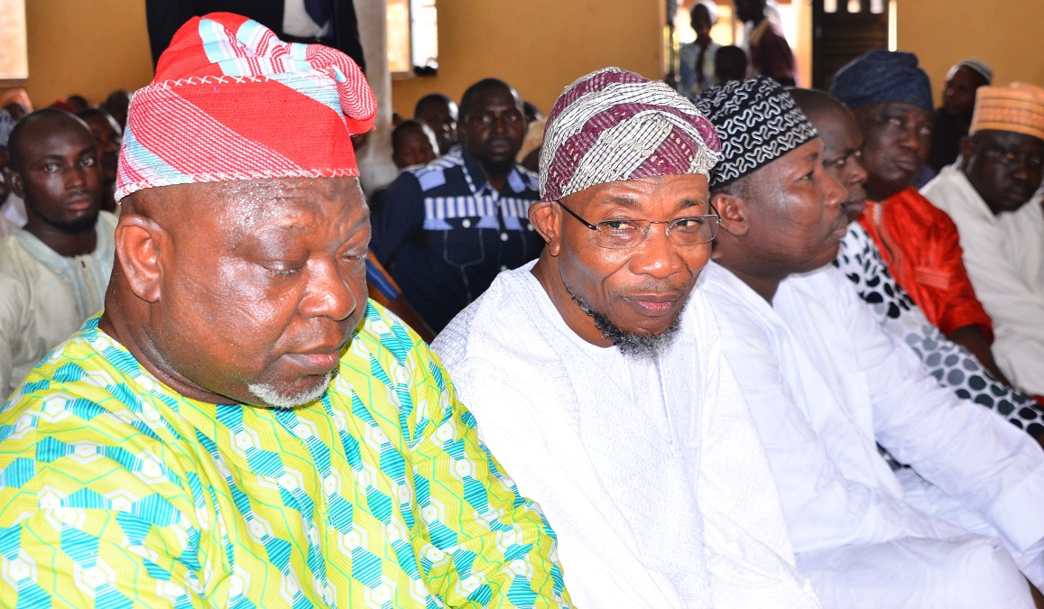 From left- Deputy Speaker, State of Osun House of Assembly, Hon. Akintunde Adegboye, Governor State of Osun, Ogbeni Rauf Aregbesola, Speaker, State of Osun House of Assembly, Hon. Najeem Salam  and others, during the Jumat Service, at Allahu Lateef Central Mosque, Onward Area, Osogbo, on Friday 02-10-2015.