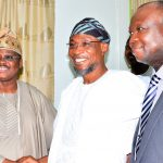 Chairman of the Occasion, Governor State of Osun, Ogbeni Rauf Aregbesola (middle); Guest Lecturer, Oyo State Governor, Senator Abiola Ajimobi (left) and Vice Chancellor, Bowen University, Prof. Matthews Ojo (right), during the first Distinguished Personality Lecture, organized by the Department of Political Science and Diplomatic Studies, Bowen University, Iwo, State of Osun on Tuesday 6/10/2015.