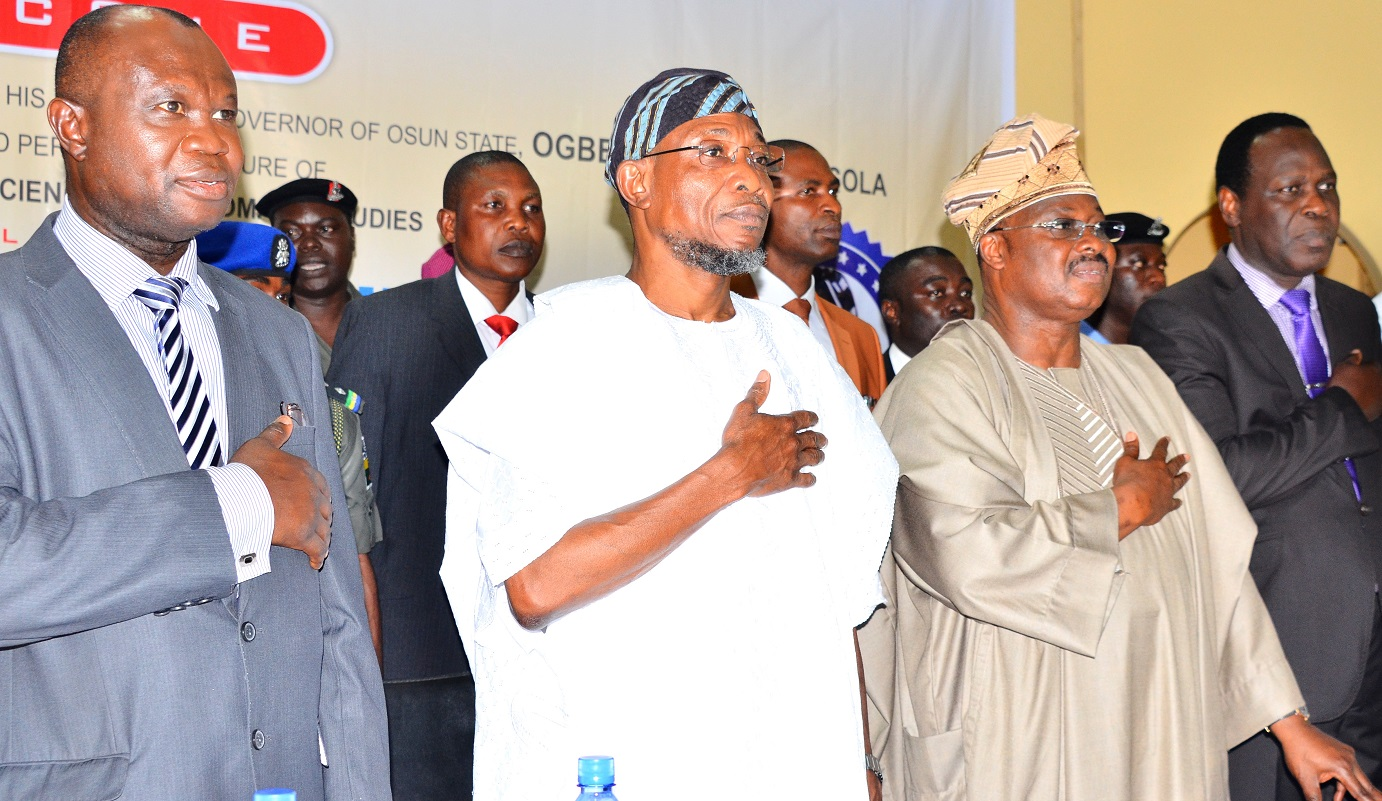 Chairman of the Occasion, Governor State of Osun, Ogbeni Rauf Aregbesola (2nd left); Guest Lecturer, Oyo State Governor, Senator Abiola Ajimobi (2nd right), Vice Chancellor, Prof. Matthews Ojo (left) and Deputy Vice Chancellor, Bowen University, Prof. John Akande (right), during the first Distinguished Personality Lecture, organized by the Department of Political Science and Diplomatic Studies, Bowen University, Iwo, State of Osun on Tuesday 6/10/2015.
