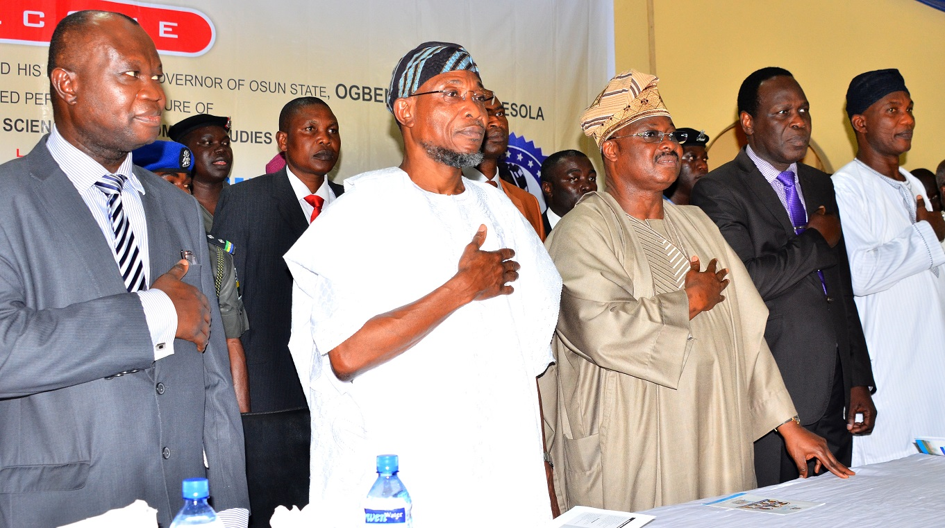 From left- Vice Chancellor, Prof. Matthews Ojo, Chairman of the Occasion, Governor State of Osun, Ogbeni Rauf Aregbesola, Deputy Vice Chancellor, Bowen University, Prof. John Akande and Secretary to the State Government, Alhaji Moshood Adeoti, during the first Distinguished Personality Lecture, organized by the Department of Political Science and Diplomatic Studies, Bowen University, Iwo, State of Osun on Tuesday 6/10/2015.