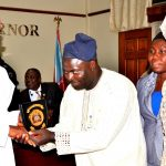 Governor State of Osun, Ogbeni Rauf Aregbesola (left ) presenting the State Emblem to General Manager, Federal Radio Corporation of Nigeria (FRCN), Gold fm Ilesa, Dr. Oluspola Agboola (2nd left), Head of Engineering Federal Radio Corporation of Nigeria (FRCN), Gold fm Ilesa (2nd right) and Head of Programmes Federal Radio Corporation of Nigeria (FRCN), Gold fm Ilesa (right) during a courtesy visit to the Governor, at Governor's Office, Abere, Osogbo at the weekend