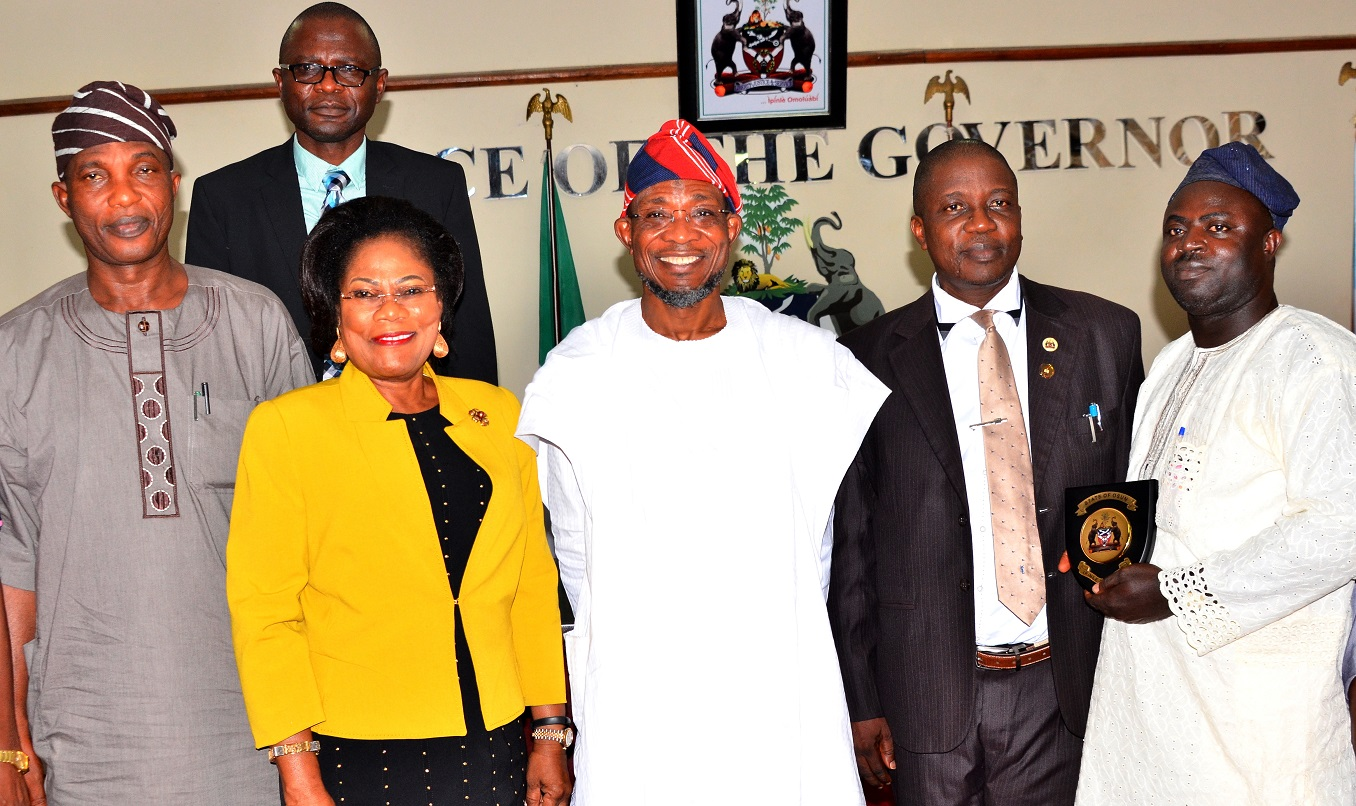 Governor State of Osun, Ogbeni Rauf Aregbesola (middle); his Deputy, Mrs. Titi Laoye-Tomori(2nd left), Secretary to the State Government, Alhaji Moshood Adeoti (left), State Head of Civil Service, Mr. Sunday Owoeye (2nd right) and General Manager, Federal Radio Corporation of Nigeria (FRCN), Gold Fm Ilesa, State of Osun, Dr. Olusola Agboola (right), during a Courtesy visit to the Governor, at Governor's Office, Abere, Osogbo at the weekend