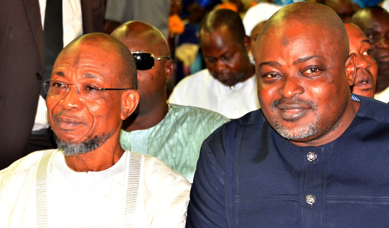 Governor State of Osun, Ogbeni Rauf Aregbesola and Speaker House of Assembly, Lagos State, Hon. Mudashir  Obasha, during the Funeral Service Of Chief Albert Olokunle Apara, at Cathedral Church of St. John Iloro, Ilesa, State of Osun, on Friday 23/10/2015.