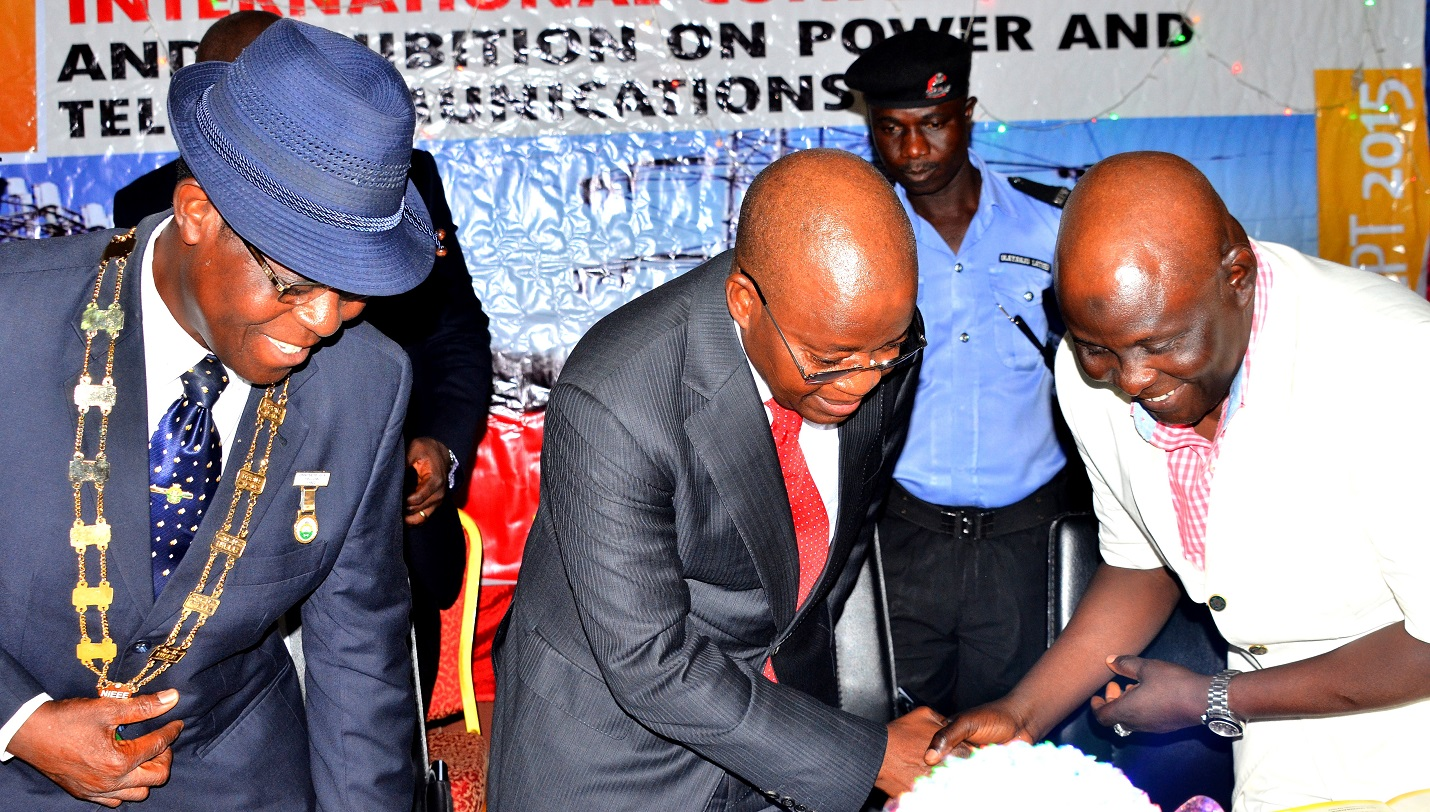 Chief of Staff to Osun Governor, Alhaji Gboyega Oyetola (middle) representing the governor; National Chairman, Nigerian Institution of Electrical and Electronics Engineers (NIEEE), Engr. Gracious Omatseye (left) and Representative of President Nigerian Society of Engineers, Engr. Babagana Mohammed,   during the International Conference and Exhibition on Power and Telecommunications at Leisure Springs hotel, Osogbo, on Tuesday 13/10/2015.