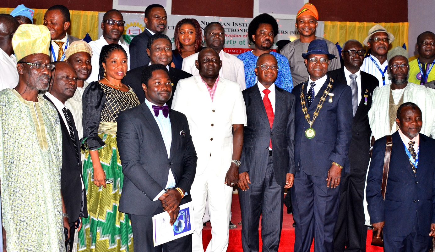 Chief of Staff to Osun Governor, Alhaji Gboyega Oyetola (5th right), representing the governor; Chairman, Nigerian Institution of Electrical and Electronics Engineers (NIEEE), Engr. Gracious Omatseye (4th right), Representative of President, Nigerian Society of Engineers, Engr. Babagana Mohammed (6th left), Engr. William Metieh of the Nigerian Electricity Management Service Agency (3rd right), and others  during the International Conference and Exhibition on Power and Telecommunications at Leisure Springs hotel, Osogbo, on Tuesday 13/10/2015.