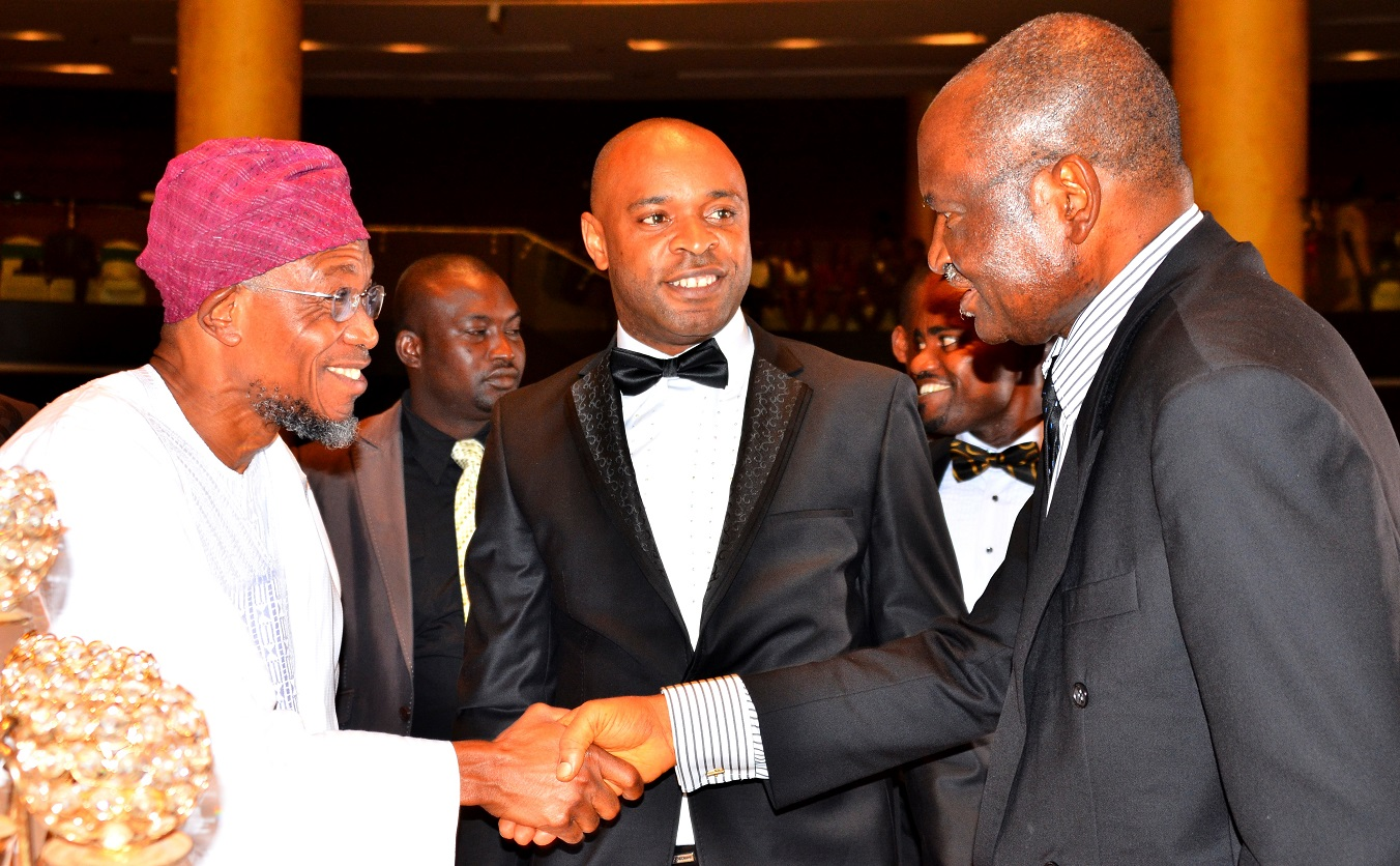 Governor State of Osun, Ogbeni Rauf Aregbesola (left),former Anthony General of the Federation,Chief Kanu Godwin Agabi (right) and Chief Executive Officer MEI Group of Companies Mike  Enyinnnaya, during a dinner party organised by the Law Students of the University of Lagos, at Eko Hotel Lagos State recently Law Student Dinner UNLAG 3