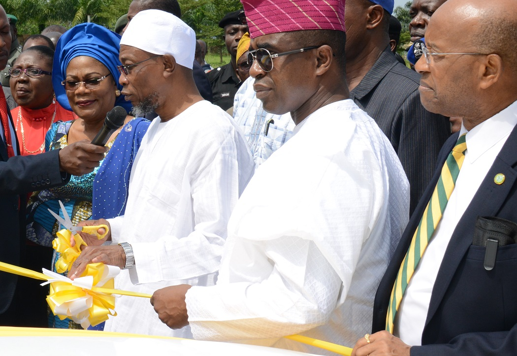 From left, MTN Portfolio Manager Foundation, Mrs. Foyinsola Oyebola; Osun deputy Governor, Mrs Titi Laoyr-Tomori; Governor Rauf Aregbesola; MTN Corporate Services Executive, Mr. Akinwale Goodluck and  Director MTN Foundation, Mr.Denis Okoro, during the commissioning and presentation of 5 Patrol Vehicles to Osun State Government as a beneficiary under the mtn foundation security support projects, at the Governor's Office, Abere, Osogbo on Tuesday 20-10-2015.