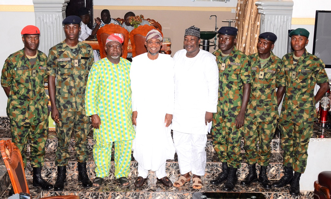 Governor State of Osun, Ogbeni Rauf Aregbesola  (4th left); Speaker State of Osun House of Assembly, Honourable Najeem Salaam (4th right); Deputy Speaker, Honourable Akintunde Adegboye  (3rd left); Osun indigenes that Passed Out from the Nigerian Defence Academy (NDA) short service course 43, Adeyemi Hussein (3rd right); Adeyanju Adedapo (2nd left); Adekunle Adepoju (2nd right); Olubodun Odeniran (left) and Adedamilola Oyolola (right), during their courtesy visit to the Governor in Osogbo, State of Osun on Friday 02-10-2015