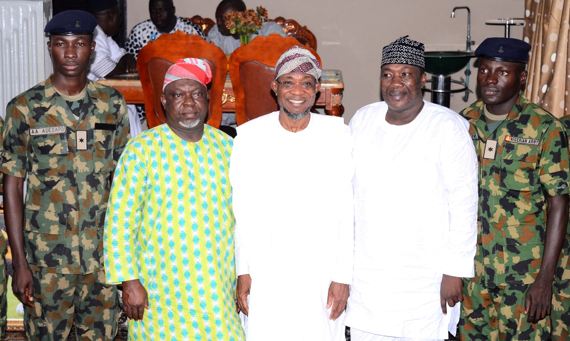 Governor State of Osun, Ogbeni Rauf Aregbesola  (centre); Speaker State of Osun House of Assembly, Honourable Najeem Salaam (2nd right); Deputy Speaker, Honourable Akintunde Adegboye  (2nd left); Osun indigenes that Passed Out from the Nigerian Defence Academy (NDA) short service course 43, Adeyemi Hussein (right) and Adeyanju Adedapo (left), during their courtesy visit to the Governor in Osogbo State of Osun on Friday 02-10-2015.