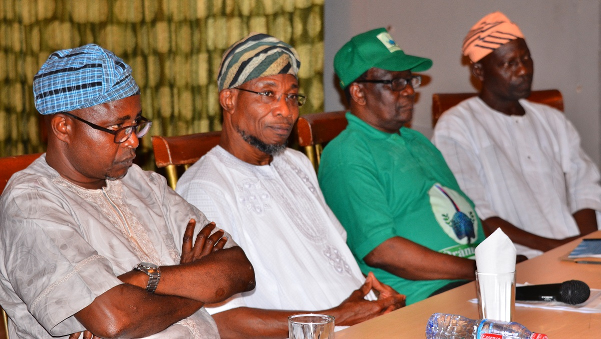 Governor State of Osun, Ogbeni Rauf Aregbesola (2nd left); President General, Oranmiyan Worldwide, Prince Felix Awofisayo (2nd right), Former Assistant Chief of Staff to the Governor, Barrister Gbenga Akano (left) and Director of Mobilization, Oranmiyan Worldwide, Mr. Lanre Opadoyin, during a courtesy visit to the Governor, at the Government House, Osogbo.