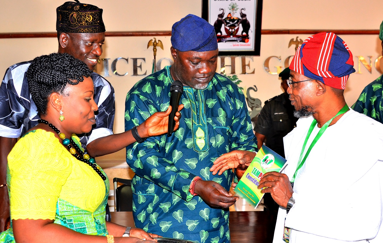 From right - Governor State of Osun, Ogbeni Rauf Aregbesola; Governor Theatre Arts and Motion picture Producers Association of Nigeria, State of Osun (TAMPAN), Prince Ayo Oladapo, General Secretary Theatre Arts and Motion picture Producers Association of Nigeria, State of Osun (TAMPAN), Prince Ademola Adedokun and his Deputy Governor Theatre Arts and Motion picture Producers Association of Nigeria, State of Osun (TAMPAN),Mrs. Sola Duro-Ladipo, during a Courtesy Visit to the Governor in his office, at Government Secretariat, Abere, Osogbo on Tuesday 29/09/2015.
