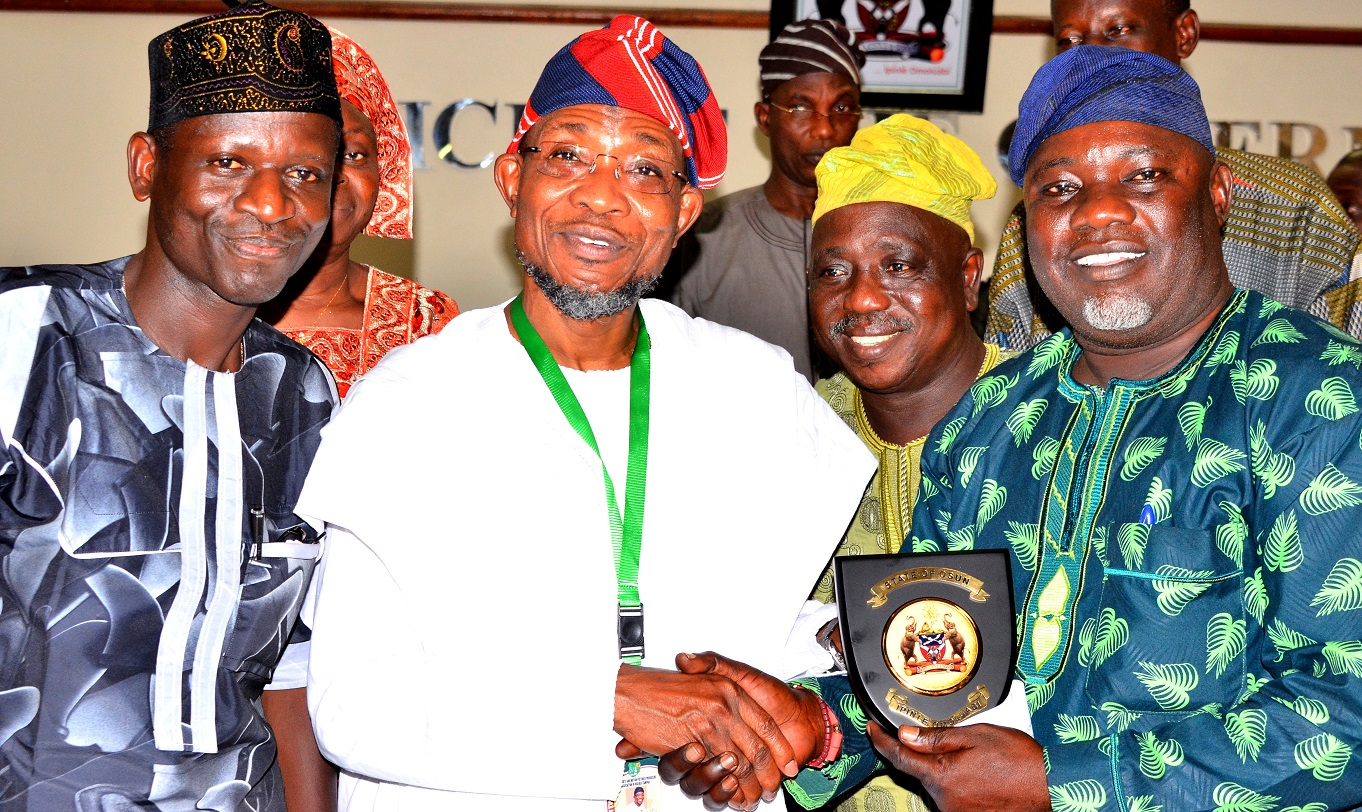Governor State of Osun, Ogbeni Rauf Aregbesola (2nd left), Governor Theatre Arts and Motion picture Producers Association of Nigeria, State of Osun (TAMPAN), Prince Ayo Oladapo (right) General Secretary Theatre Arts and Motion picture Producers Association of Nigeria, State of Osun (TAMPAN), Prince Ademola Adedokun (left) and Mr. Tafa Oloyede (2nd right) during a Courtesy Visit to the Governor in his office, at Government Secretariat, Abere, Osogbo on Tuesday 29/09/2015.