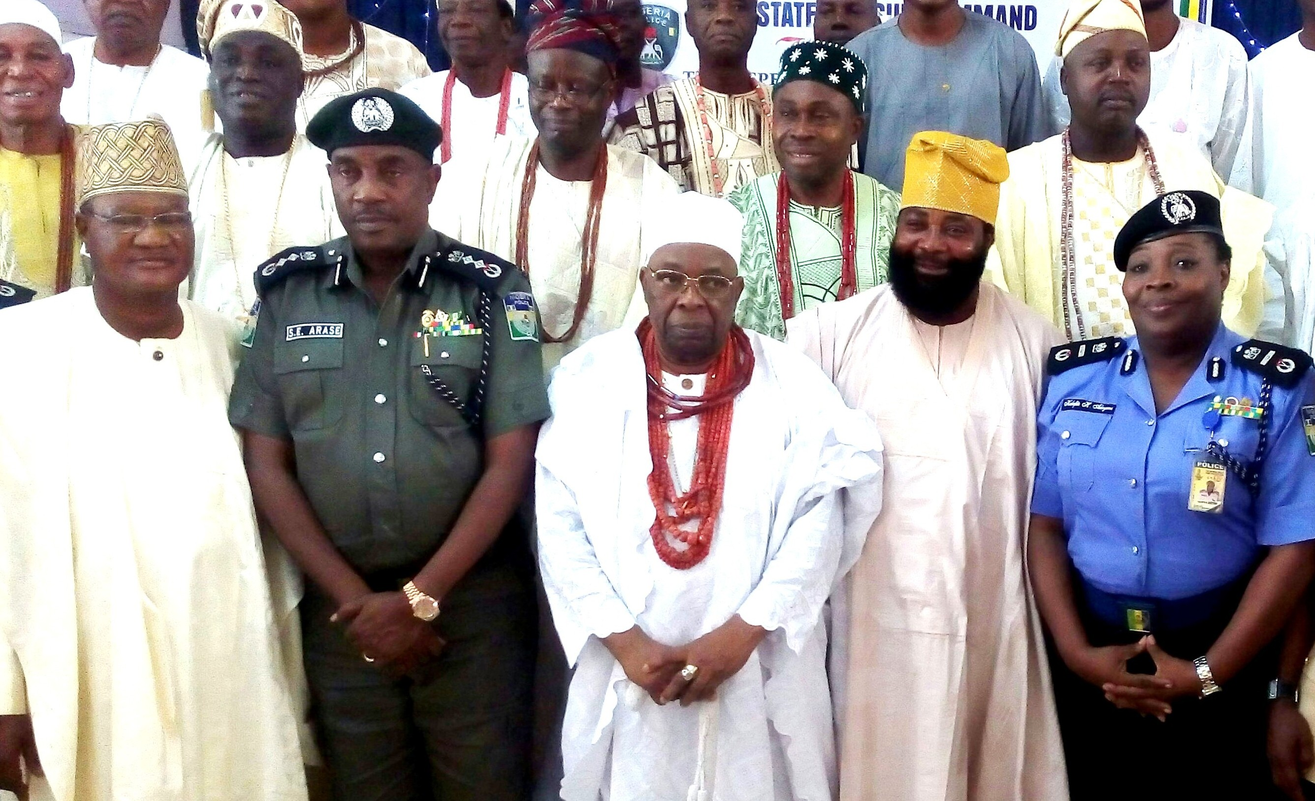 South West Zonal Chairman of the Police Community Relations Committee (PCRC), Otunba Femi Arowosola; Inspector General of Police (IGP), Solomon Arase; the Owa Obokun of Ijeshaland, Oba Adekunle Aromolaran;Osun State Chairman of CPRC, Comrade Amitolu Shittu; Assistant Inspector General of Police, Mrs Adeyemi Kalafite and others, after a meeting, during a recent familiarization tour by the IG at Osogbo, the State capital of Osun