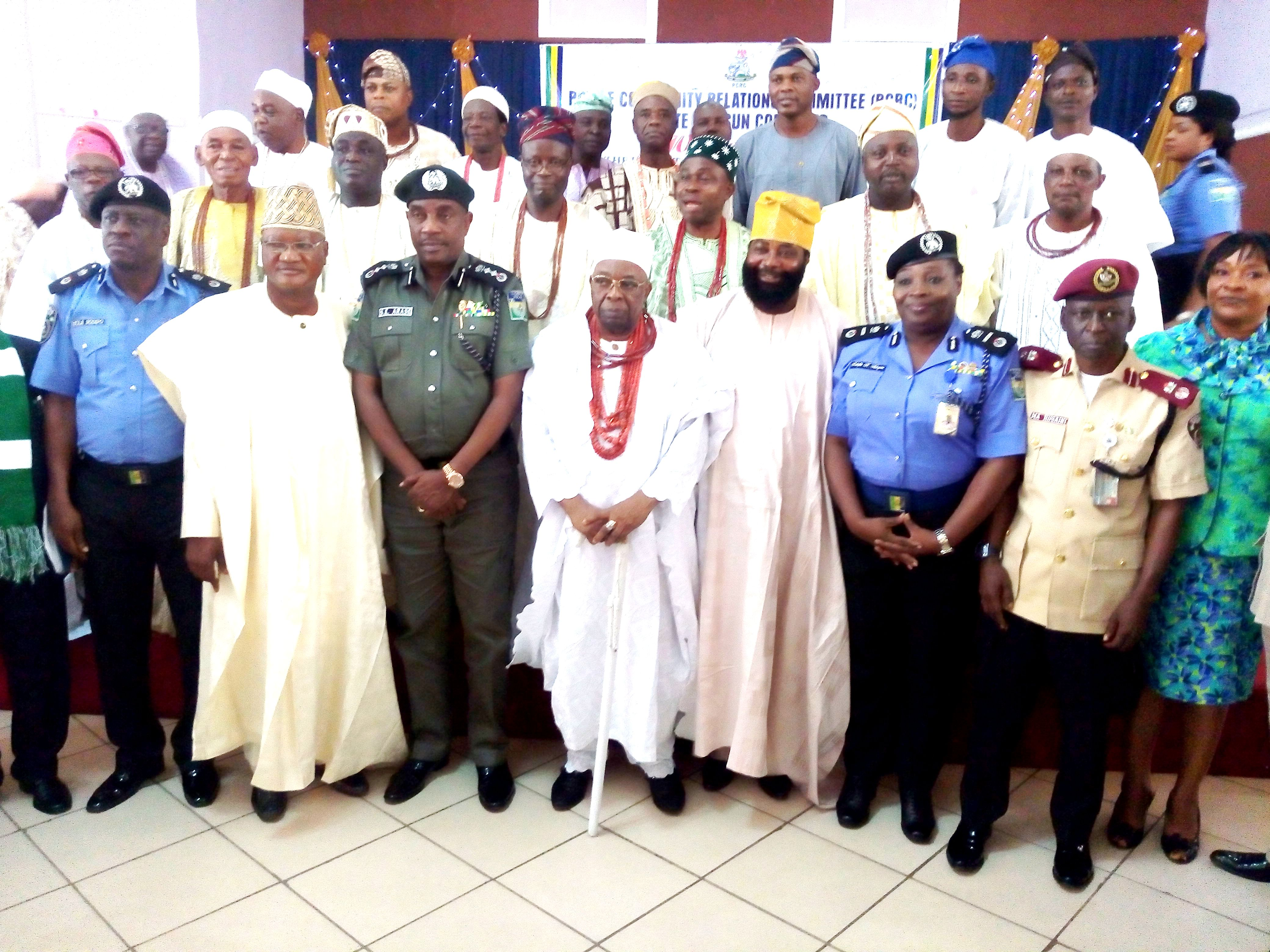From left, Police Commissioner, Osun State Command, Mr. Kola Sodipo; South West Zonal Chairman of the Police Community Relations Committee (PCRC), Otunba Femi Arowosola; Inspector General of Police (IGP), Solomon Arase; the Owa Obokun of Ijeshaland, Oba Adekunle Aromolaran;Osun State Chairman of CPRC, Comrade Amitolu Shittu; Assistant Inspector General of Police, Mrs Adeyemi Kalafite and others, after a meeting, during a recent familiarization tour by the IG at Osogbo, the State capital of Osun