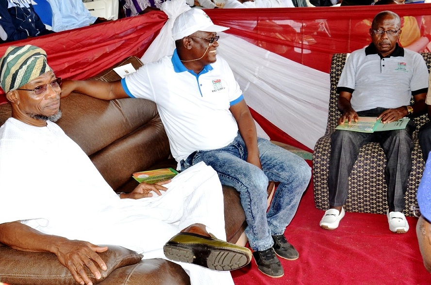 From left, Governor State of Osun Ogben Rauf Aregbesola, State Chairman of Nigeria Union of Teachers (NUT), Comrade Wakili Alade Amuda and Representative of NUT President, Comrade Micheal Olukoya Alogba, during the 2015 World Teachers Day celebrations, at the Government Technical College, Osogbo on Monday 05-10-2015