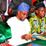 From left - Deputy Governor State of Osun, Mrs. Titi Laoye-Tomori, Governor Rauf Aregbesola, National President, Association of Primary Schools Headteachers of Nigeria (AOPSHON), Alhaji Mahmud Lawal and Ataoja of Osogbo Land, Oba Jimoh Olanipekun, during the Conferment of Award of Excellence in Basic Education to the Governor by AOPSHON, at GMT Events Centre, Ring Road Area, Osogbo on Wednesday 18/11/2015.