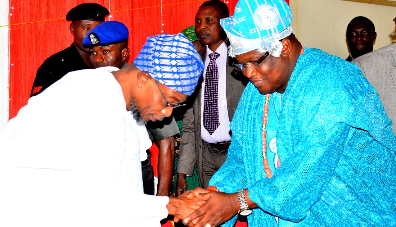 Governor State of Osun, Ogbeni Rauf Aregbesola and Ataoja of Osogbo Land, Oba Jimoh Olanipekun, during the Conferment of Award of Excellence in Basic Education to the Governor AOPSHON, at GMT Events Centre, Ring Road Area, Osogbo on Wednesday 18/11/2015.