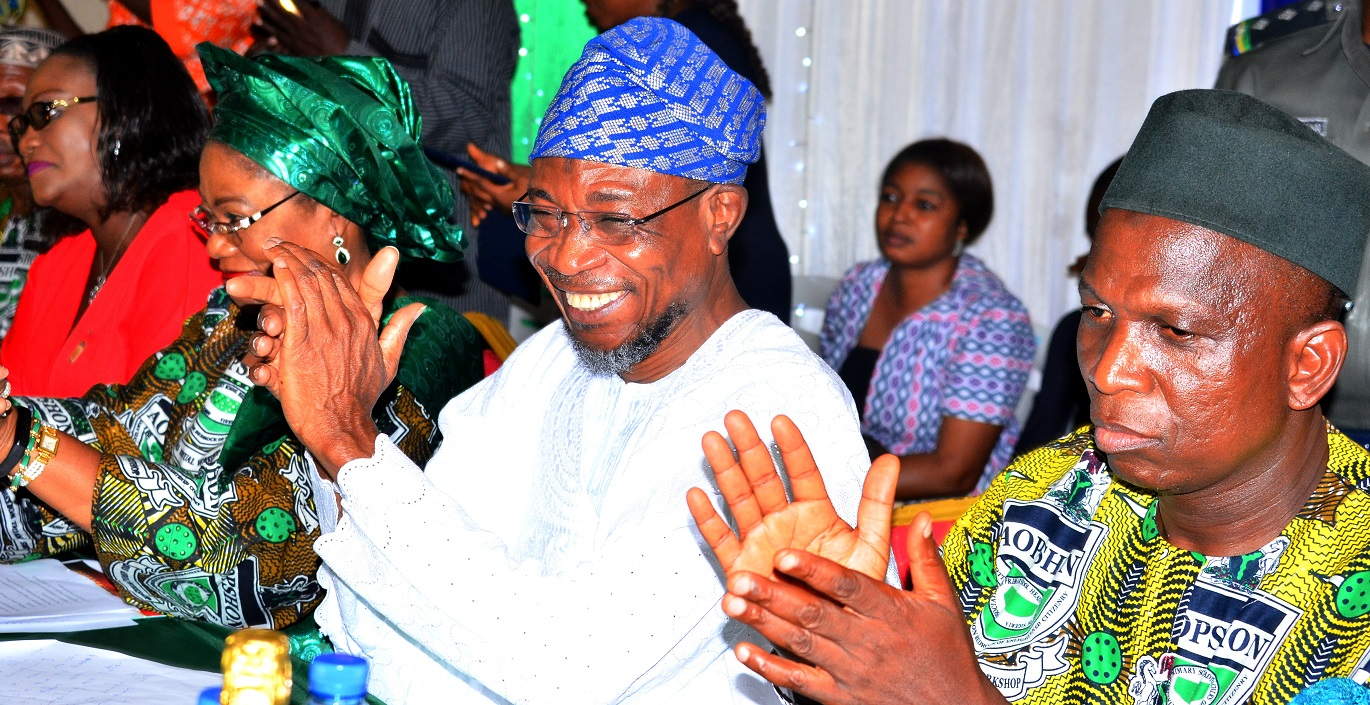 From right-  National President, Association of Primary Schools Headteachers of Nigeria (AOPSHON), Alhaji Mahmud Lawal, Governor State of Osun, Ogbeni Rauf Aregbesola, his Deputy, Mrs. Titi Laoye-Tomori and Senior Special Adviser to Anambra State Governor on Special Duties, Dr Amaka Akudo, during the Conferment of Award of Excellence in Basic Education to Governor Aregbrsola by AOPSHON, at GMT Events Centre, Ring Road Area, Osogbo on Wednesday 18/11/2015.