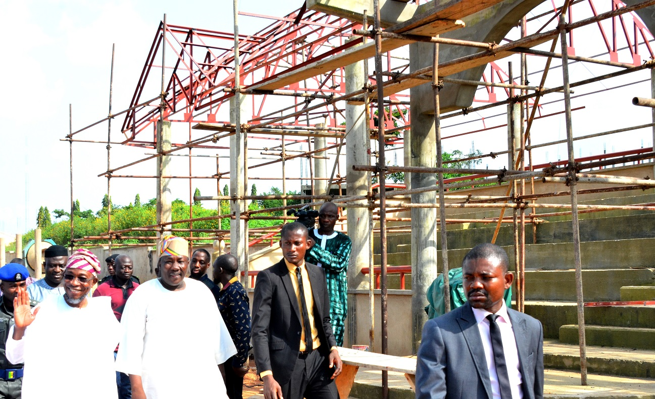 Governor State of Osun, Ogbeni Rauf Aregbesola (left); Speaker House of Assembly, Hon. Najeem Salam (second left) and others, during the inspection of the ongoing construction of the Osun House of Assembly Pavilion, at House of Assembly Complex, Osogbo, at the weekend