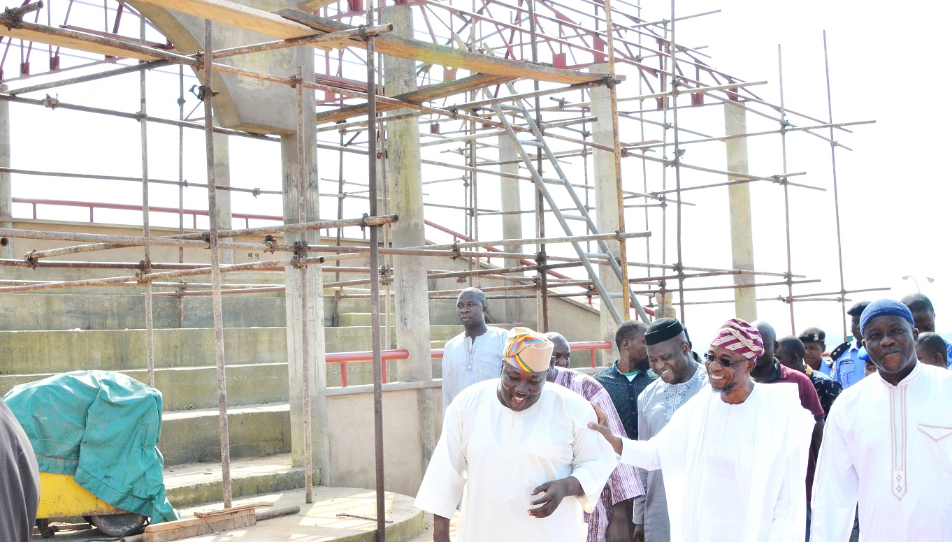 Governor State of Osun, Ogbeni Rauf Aregbesola (middle); Speaker House of Assembly, Hon. Najeem Salam (left),  House of Assemble Member, Ede North constituency, Hon. Debo akanni (right) and others, during the inspection of the ongoing construction of the Osun House of Assembly Pavilion, at House of Assembly Complex, Osogbo, at the weekend