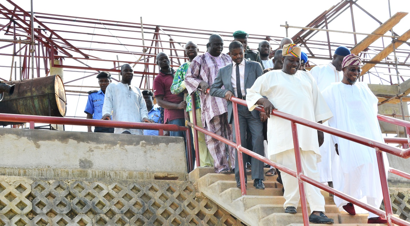 Governor State of Osun, Ogbeni Rauf Aregbesola (right); Speaker House of Assembly, Hon. Najeem Salam (left) and others, during the inspection of the ongoing construction of the Osun House of Assembly Pavilion, at House of Assembly Complex, Osogbo, at the weekend