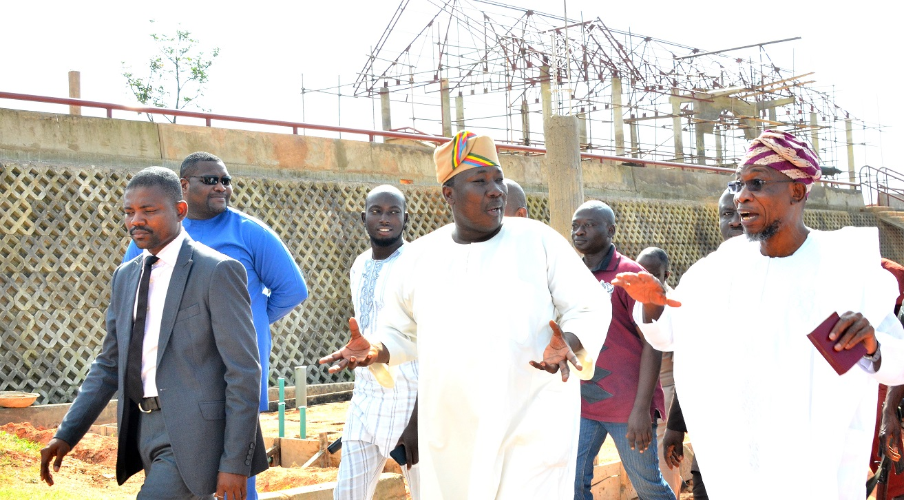 Governor State of Osun, Ogbeni Rauf Aregbesola (right); Speaker House of Assembly, Hon. Najeem Salam (left) and others, during the inspection of the ongoing construction of the Osun House of Assembly Pavilion, at House of Assembly Complex, Osogbo, at the wrekend