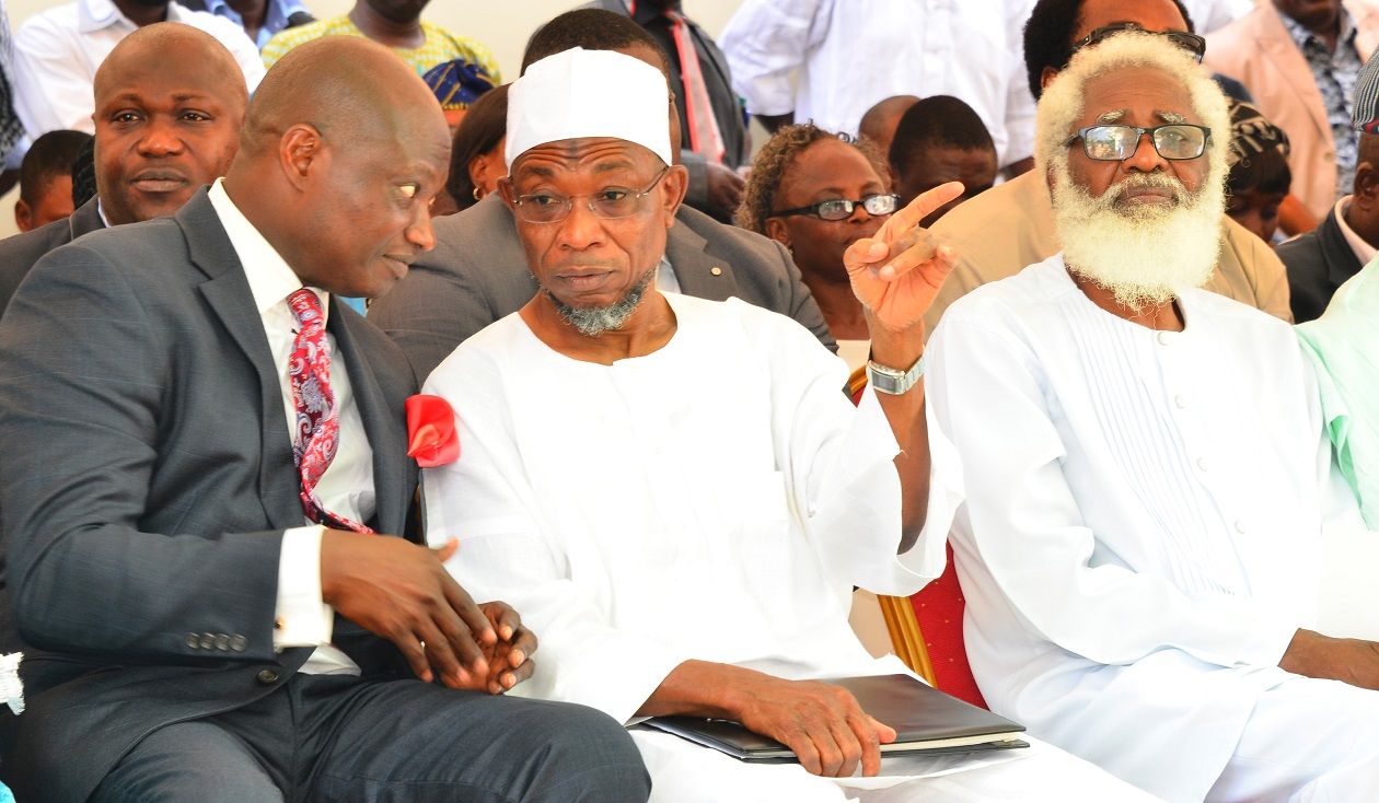 Chief Executive Officer Rave FM 91.7, Mr. Femi Adefila (left), Governor State of Osun, Ogbeni Rauf Aregbesola (middle), and Chairman of Occasion, Dr.Yemi Farounbi (right), during the Official Commissioning of Rave F.M Radio, at Agunbelewo, Area Osogbo, State of Osun, on Thursday 26/11/2015.