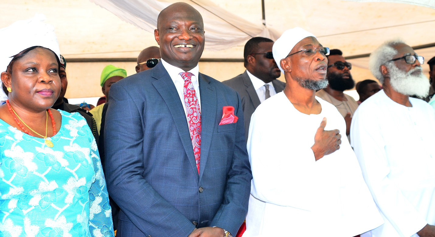 From right- Chairman of Occasion, Dr. Yemi Farounbi, Governor State of Osun, Ogbeni Rauf  Aregbesola, Chief Executive Officer Rave FM 91.7, Mr. Femi Adefila, and his Wife Dr. Bimbola Adefila during the Official Commissioning of Rav F.M Radio at Agunbelewo,Area Osogbo, State of Osun, on Thursday 26/11/2015.