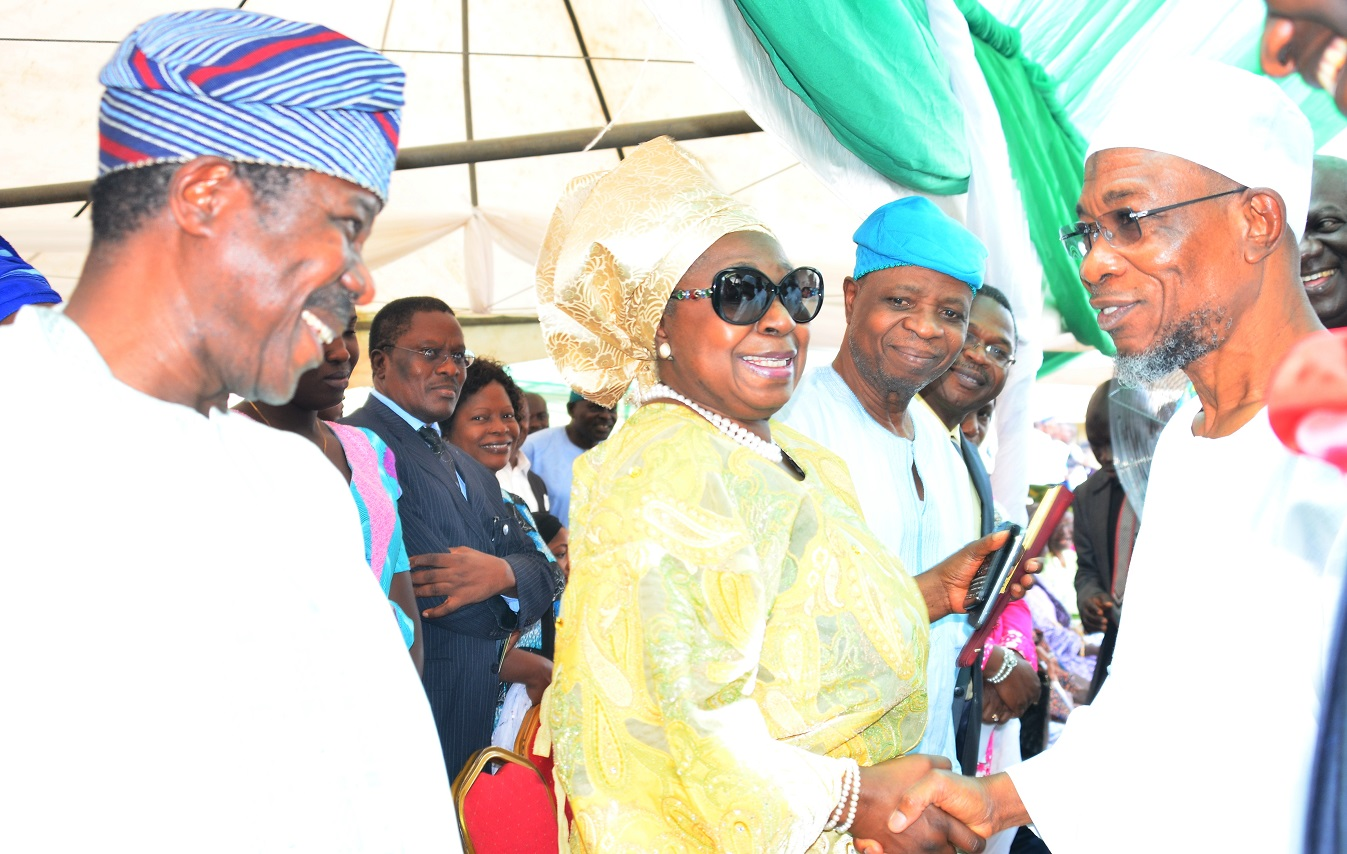 From right- Governor State of Osun, Ogbeni Rauf  Aregbesola, Chief Ebenezer Babatope, Former Deputy Governor, State of Osun, Erelu Olusola Obada and King Dr. Sunny Ade  during the Official Commissioning of Rav F.M Radio at Agunbelewo,Area Osogbo, State of Osun, on Thursday 26/11/2015.