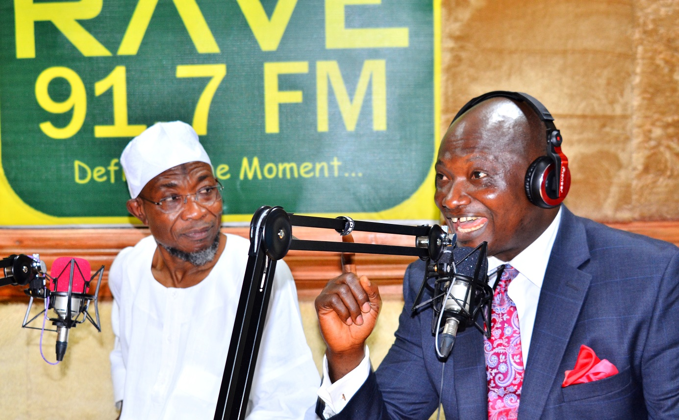Chief Executive Officer Rave FM 91.7, Mr. Femi Adefila and Governor State of Osun, Ogbeni Rauf Aregbesola during the Official Commissioning of Rav e F.M Radio at Agunbelewo,Area Osogbo, State of Osun, on Thursday 26/11/2015.