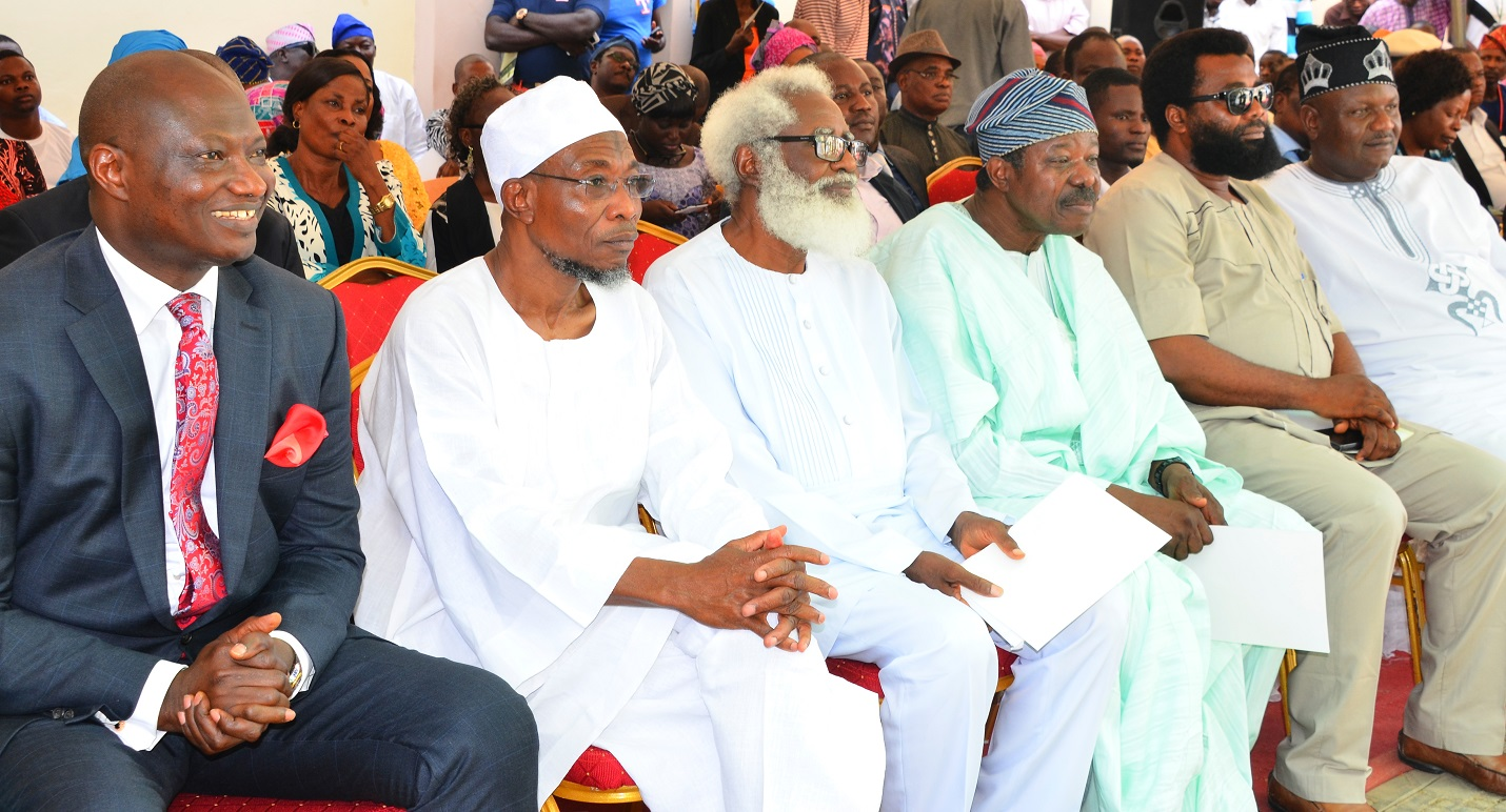 From left- Chief Executive Officer Rave FM 91.7, Mr. Femi Adefila, Governor State of Osun, Ogbeni Rauf  Aregbesola, Chairman of Occasion, Dr. Yemi Farounbi,  King Dr. Sunny Ade, Managing Director De Rauf, Comrade Amitolu Shittu, and Chairman All Progressive Congress (APC), State of Osun, Prince Adegboyega Famodun during the Official Commissioning of Rav e F.M Radio at Agunbelewo,Area Osogbo, State of Osun, on Thursday 26/11/2015.