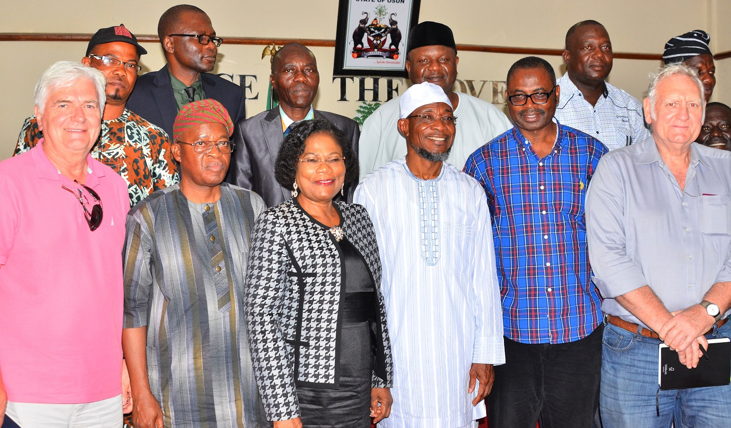 Governor State of Osun, Ogbeni Rauf Aregbesola (3rd right), his deputy, Mrs. Titi Laoye- Tomori (3rd left), World Bank Consultant, Mr. David Rudge (right),World Bank Team Leader, Engr. Olatunji Hammed (2nd right), Chief of Staff to the Governor, State of Osun, Alhaji Gboyega Oyetola (2nd left) and World Bank Consultant, Mr .Terje Wolden (left), during a Courtesy visit to the Governor, State of Osun, at Governor's office, Abere, Osogbo on Wednesday 11/11/2015.