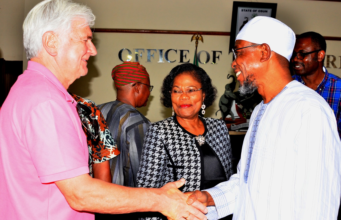 Governor State of Osun, Ogbeni Rauf Aregbesola, his deputy, Mrs. Titi Laoye- Tomori and  World Bank Consultant, Mr .Terje Wolden (left), during a Courtesy visit to the Governor, State of Osun, at Governor's office, Abere, Osogbo on Wednesday 11/11/2015