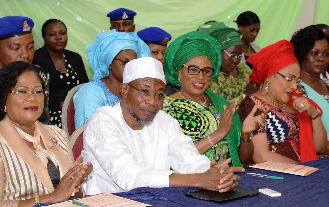 From left,  Osun Deputy Governor, Mrs Titi Laoye-Tomori; Governor Rauf Aregbesola;  his wife/Chief Host, Sherifat; Wife of Oyo State Governor, Mrs Florence Ajimobi; and her Ekiti State counterpart, Mrs Feyisetan Fayose, at the High-Level Meeting on Female Genital Mutilation, at Aurora Event Centre, Osogbo on Tuesday 10-11-2015