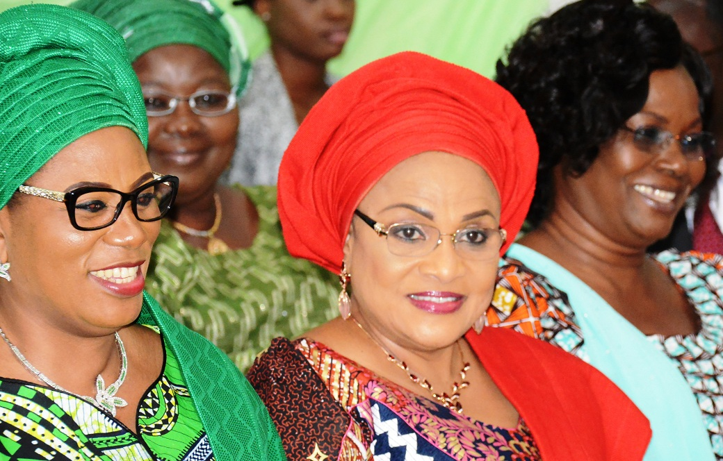 From left, Wife of Osun State Governor and Chief Host, Mrs Sherifat Aregbesola; her counterparts from Oyo, Mrs Florence Ajimobi and Mrs Feyisetan Fayose, at the High-Level Meeting on Female Genital Mutilation, at Aurora Event Center, Osogbo on Tuesday 10-11-2015