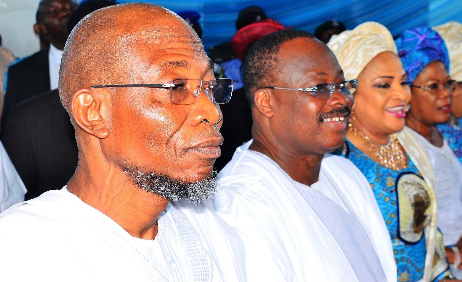 From left- Governor State of Osun, Ogbeni Rauf Aregbesola; Oyo State counterpart, Senator Abiola Ajimobi, his wife Florence and Deputy Governor, State of Osun, Mrs. Titi Laoye-Tomori, during the Funeral Service of Late Chief (Mrs.) Hannah Idowu Dideolu Awolowo, at Our Saviour's Anglican Church, Ikenne, Ogun State, on Wednesday 25/11/2015.