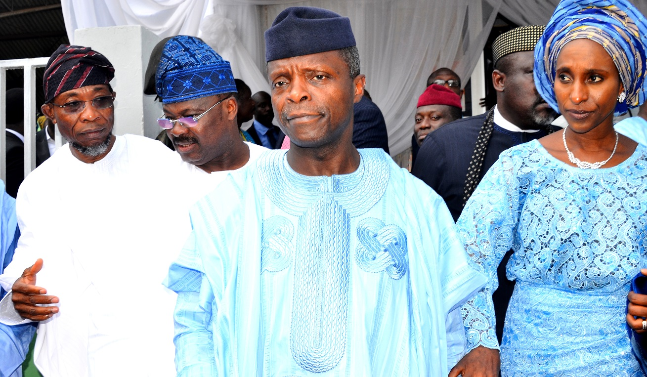 Vice President, Federal Republic of Nigeria, Professor Yemi Osinbajo (second right);  his Wife, Mrs. Dolapo Osinbajo (right), Governor State of Osun, Ogbeni Rauf Aregbesola (left), and Oyo State Governor, Senator Abiola Ajimobi (2nd left), during the Funeral Service of Late Chief (Mrs.) Hannah Idowu Dideolu Awolowo, at Our Saviour's Anglican Church, Ikenne, Ogun State, on Wednesday 25/11/2015.