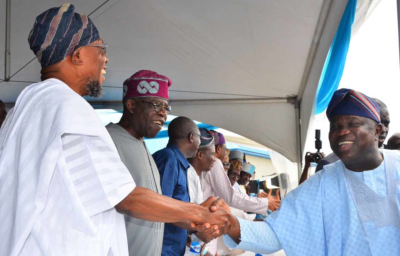 Governor State of Osun, Ogbeni Rauf Aregbesola; Lagos State Governor, Akinwunmi Ambode and All Progressive Congress, National Leader, Senator Bola Hamed Tinubu , during the Official Commissioning & Launch of the Mile 12- Ikorodu Road Widening and Bus Rapid Transit (BRT) Operation at BRT Depot, Majidun, Ikorodu on Thursday 12/11/2015.