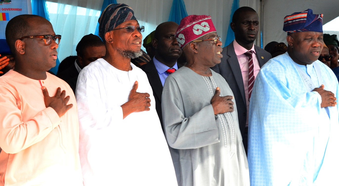Governor State of Osun, Ogbeni Rauf Aregbesola (2nd left), Lagos State Governor, Akinwunmi Ambode (right), All Progressive Congress, National Leader, Senator Bola Hamed Tinubu (2nd right)and Member House of Rep. Ikorodu 1&2 lagos State, Hon. Jimi Benson (right)  during the Official Commissioning & Launch of the Mile 12- Ikorodu Road Widening and Bus Rapid Transit (BRT) Operation at BRT Depot, Majidun, Ikorodu on Thursday 12/11/2015.