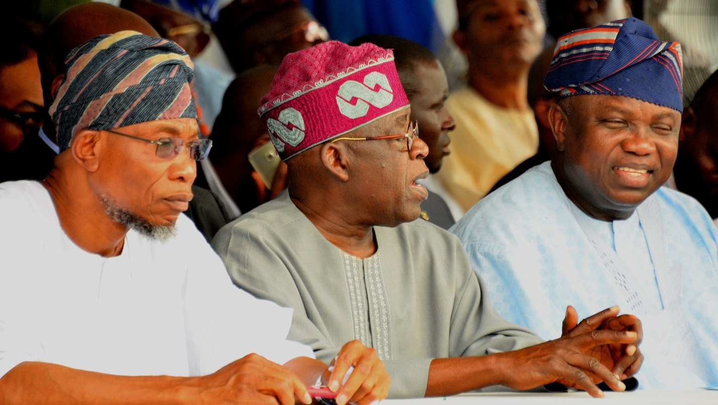 Governor State of Osun, Ogbeni Rauf Aregbesola (left), Lagos State Governor, Akinwunmi Ambode (right), and All Progressive Congress, National Leader, Senator Bola Hamed Tinubu (middle), during the Official Commissioning & Launch of the Mile 12- Ikorodu Road Widening and Bus Rapid Transit (BRT) Operation at BRT Depot, Majidun, Ikorodu on Thursday 12/11/2015.
